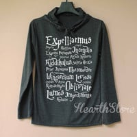 Harry Potter Spell Shirt Harry Potter Shirt Long Sleeve Hoodie TShirt T Shirt Unisex - size S M L