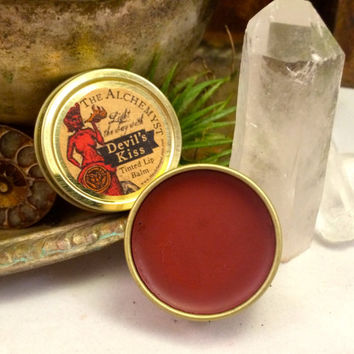 Naturally Tinted Lip Plumping Balm ~Devil's Kiss Lip Balm~ Devil Red Tinted Lip Balm ~Lip Balm for Nerds~ Collectible Art Tin