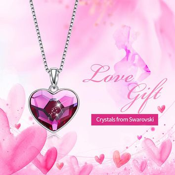 Pink Swarovski Heart Shaped Classical Necklace in 14K White Gold Plating