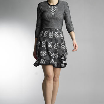 Historic New York Achromatic Geometric Fit and Flare Knitted Dress