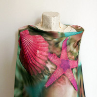 Only one, Underwater Scarf, Leopard Mussels and Starfish Women Accessories, Christmas Gifts Idea