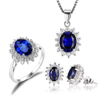 Jewelry Palace Women's Princess Diana William Kate Middleton's 7.9ct Created Blue Sapphire Jewelry Sets Engagement 925 Sterling Silver Ring Pendant Necklace Stud Earrings