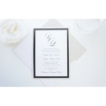 Silver and Black Wedding Invitation - DEPOSIT