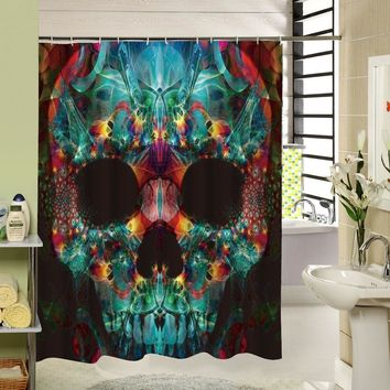 Customized 3d Shower Curtain Bathroom Waterproof Bathroom Fabric Skull Bath Curtain