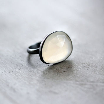 White Moonstone Ring Snow White Rose Cut Freeform by TheSlyFox