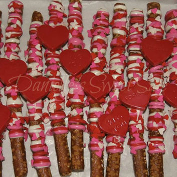 12 Valentine's Day Chocolate Covered Pretzels  with Chocolate Conversation Hearts