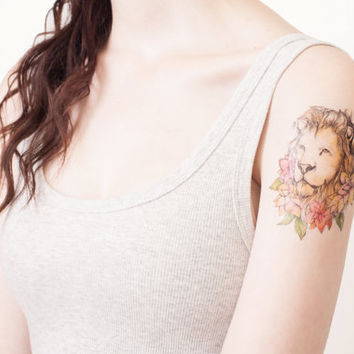 lion and flowers portrait temporary tattoo - strength, courage, boldness