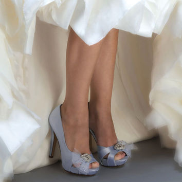 Wedding Shoes - Custom Colors 120 Choices - PB783 Silk Satin, Peep Toe 4 inch Heels, Rhinestone Brooch on Spray ofTulle