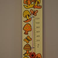 Vintage Thermometer, Retro Thermometer, Mushroom Thermometer, Mod Style Thermometer, 1970's style, Shabby Chic, Wall Decor