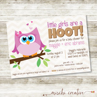 "Little Girls Are A Hoot! Owl Baby Girl Shower DIY Printable Invitation - 5"" x 7"""