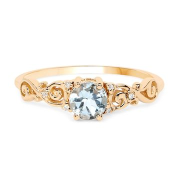 A Special Edition 14K Gold .47CT Round Cut Natural Aquamarine & White Diamond Ring