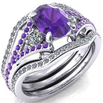 Arietis Oval Amethyst Diamond Sides 3/4 Eternity Accent Amethyst Ring