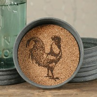 Farmhouse Country Rooster Mason Jar Lid Coasters Set of 4