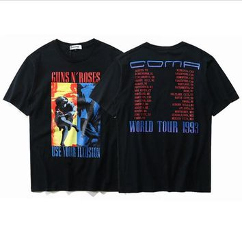 GUNS N'ROSES World Tour 1993 Music T shirt Men Vintage Rock