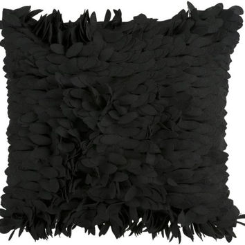 Black Feather-like Throw Pillow - Candice Olson Design