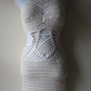 Crochet dress, monokini  beach cover up, summer dress, resort wear, party, salsa dancing