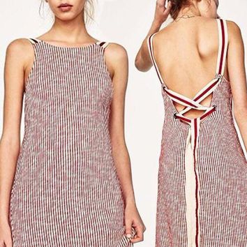 DCCKH3L Fashion Sleeveless Backless Multicolor Stripe Strappy Strap Dress