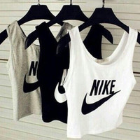 Fashion Trendy Nike Print Sleeveless Vest Short T Shirt