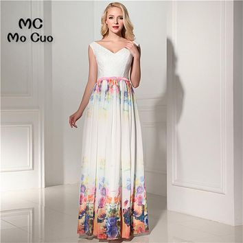 Unique 2017 Cheap Evening Prom dresses Long with Print Pattern V-Neck Vestidos de fiesta Formal Chiffon Sashes Evening Dress