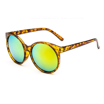 Gold Retro Display Face Sunglasses