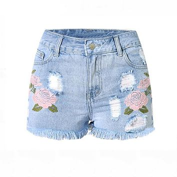 Fashion Embroidery Denim Shorts Floral High Waist Jeans Short Femme Frayed Hole Shorts For Women Plus Size Summer Shorts