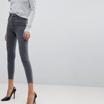 ASOS DESIGN Ridley high waist skinny jeans in grey at asos.com