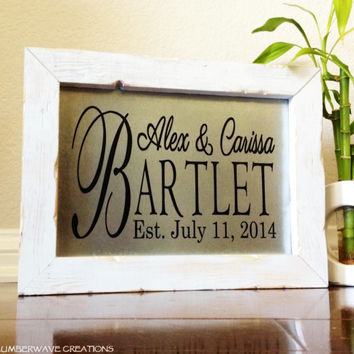 Personalized Family Name Sign Family Wedding Established Sign