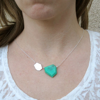 Sterling Silver Necklace, Modern Geometric Necklace, Hammered Silver, Faceted Pendant, Jade Teal Necklace, Colorful Jewelry, Handmade Silver