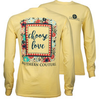 Southern Couture Choose Love Flowers Comfort Colors Long Sleeve T-Shirt
