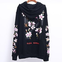 OFF-WHITE autumn and winter new tide brand pink cherry blossom zipper hooded sweater black