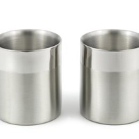 StainlessLUX 77351 A Set of 2 Double-walled Stainless Steel Small Drinking Glasses / Water Tumblers (10 Oz. / 1.25 Cup) Two-tone Finish 3.1 Inch Diameter X 3.465 Inch Height