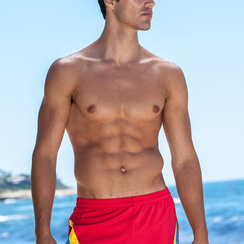 Sauvage Swimwear Color Splice 80's Swim Trunks - Red