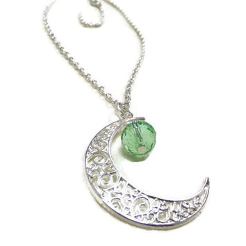 Silver Moon and Green Crystal Necklace, Crescent Moon Necklace, Moon and Crystal Necklace, Celestial Necklace, Gift for Her, Moon Jewelry