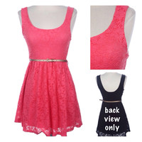 """StarLite"" Sleeveless Lace ""Little Coral Dress"" with Belt Spring/Summer Apparel"