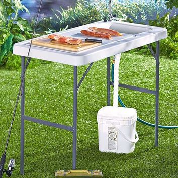 Folding Portable Sink Table Fish Hunting Cleaning Cutting Camping Gardening