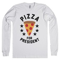 Pizza For President-Unisex White T-Shirt