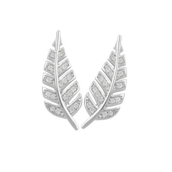 Sterling Silver Cz Feather Ear Crawler Stud earrings