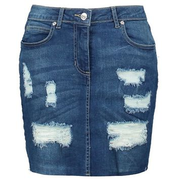 Paislee Distressed Denim Mini Skirt | Boohoo