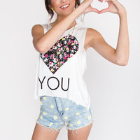 Heart You Floral Top - White