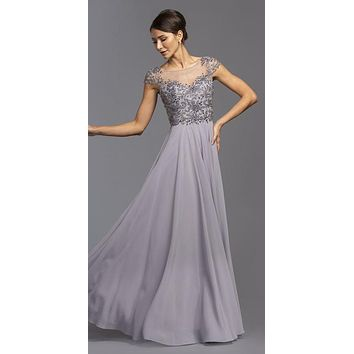 09ed787d522 Dark Silver Illusion Bodice Long Beaded Formal Dress