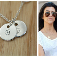 SALE Personalized Necklace, Silver Disc Necklace, Handstamped Letter Charms, Mothers Sister, Friendship True Love necklace, Grandma, Wedding