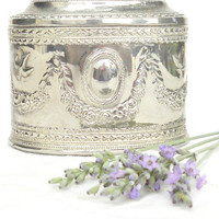 Shabby French Country Silverplate Engraved Trinket Box, Cottage Style, Lined, Neoclassic