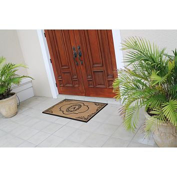 Hand Crafted Abrilina Entry Coir Double Doormat Monogrammed