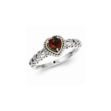 Antique Style Sterling Silver with 14k Yellow Gold Garnet Ring