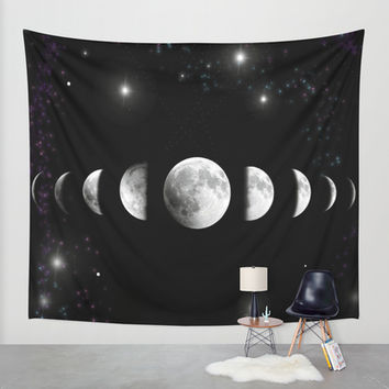 Stars and Moons Wall Tapestry by Nessieness