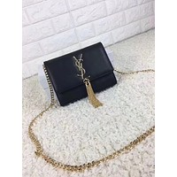 YSL SAINT LAURENT CLASSIC LEATHER TASSEL CHAIN SHOULDER BAG