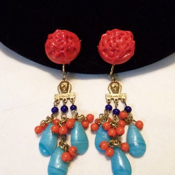 Miriam Haskell Egyptian Revival Turquoise Coral Gold Plate Glass Clip On Chandelier Drop Bead Earrings