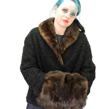 Vintage 1950s lambswool coat /  size M / 50s cropped black jacket mink collar / muff / Shlampp's  USA