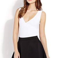 FOREVER 21 Ruched Surplice Bodysuit