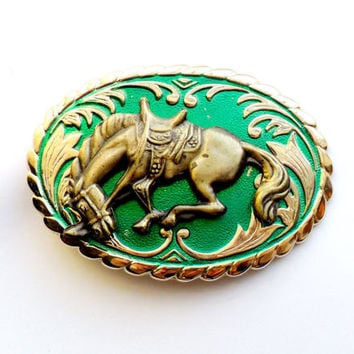 Vintage Horse Belt Buckle Green Enamel Paint Brass Three Dimensional 3d Layered Gold Tone Cowboy Rodeo Bronco